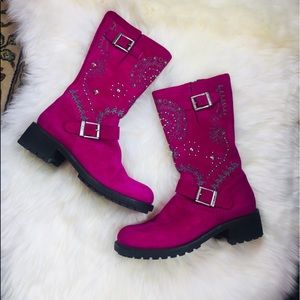 Donald J Pliner Graze Fuchsia Suede Jeweled Boots